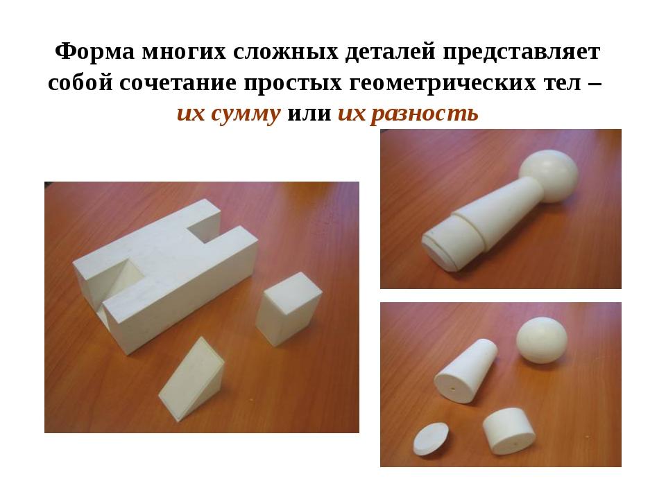 Форма многих сложных деталей представляет собой сочетание простых геометричес...