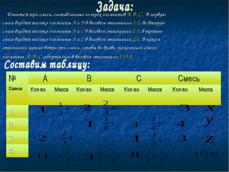 Имеются три смеси, составленные из трёх элементов А, В, С. В первую смесь вх...