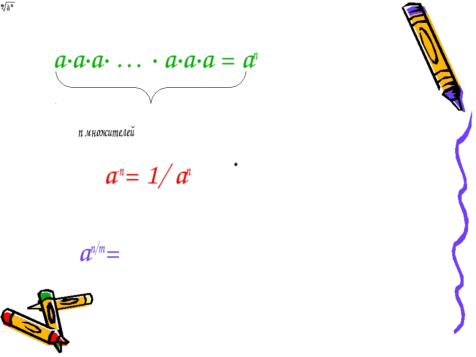 . а∙а∙а∙ … ∙ а∙а∙а = аn n множителей а-n= 1/ аn аn/m=