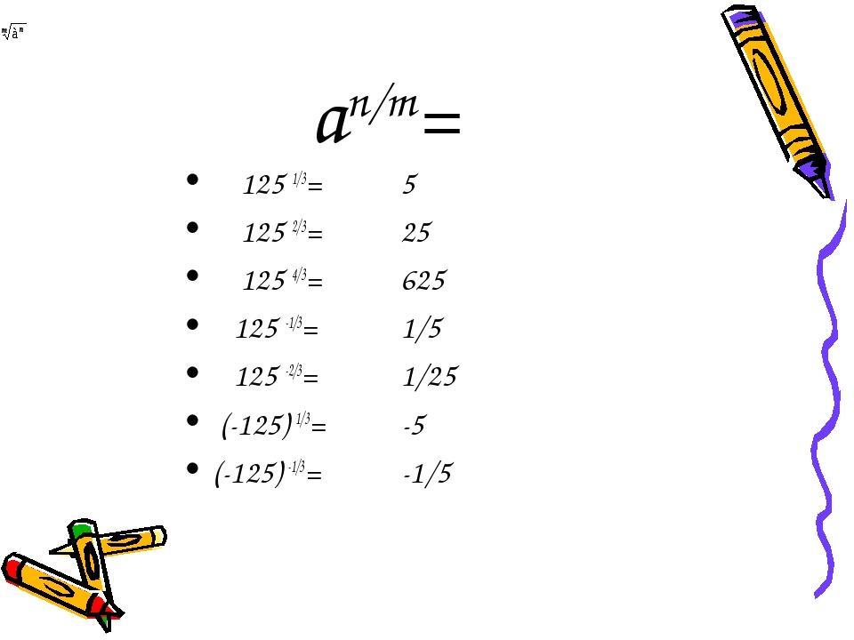 аn/m= 125 1/3= 125 2/3= 125 4/3= 125 -1/3= 125 -2/3= (-125) 1/3= (-125) -1/3=...
