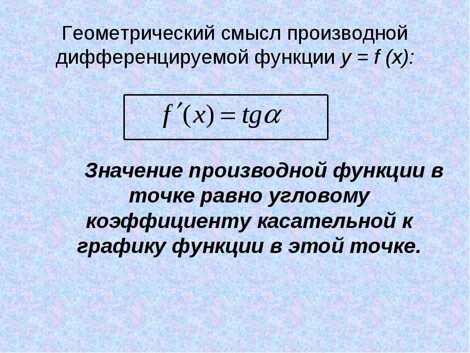 Геометрический смысл производной дифференцируемой функции y = f (x): Значение...
