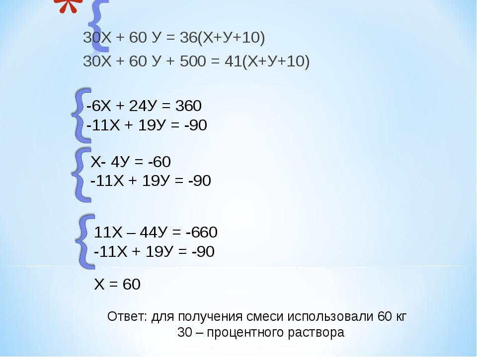30Х + 60 У = 36(Х+У+10) 30Х + 60 У + 500 = 41(Х+У+10) -6Х + 24У = 360 -11Х +...