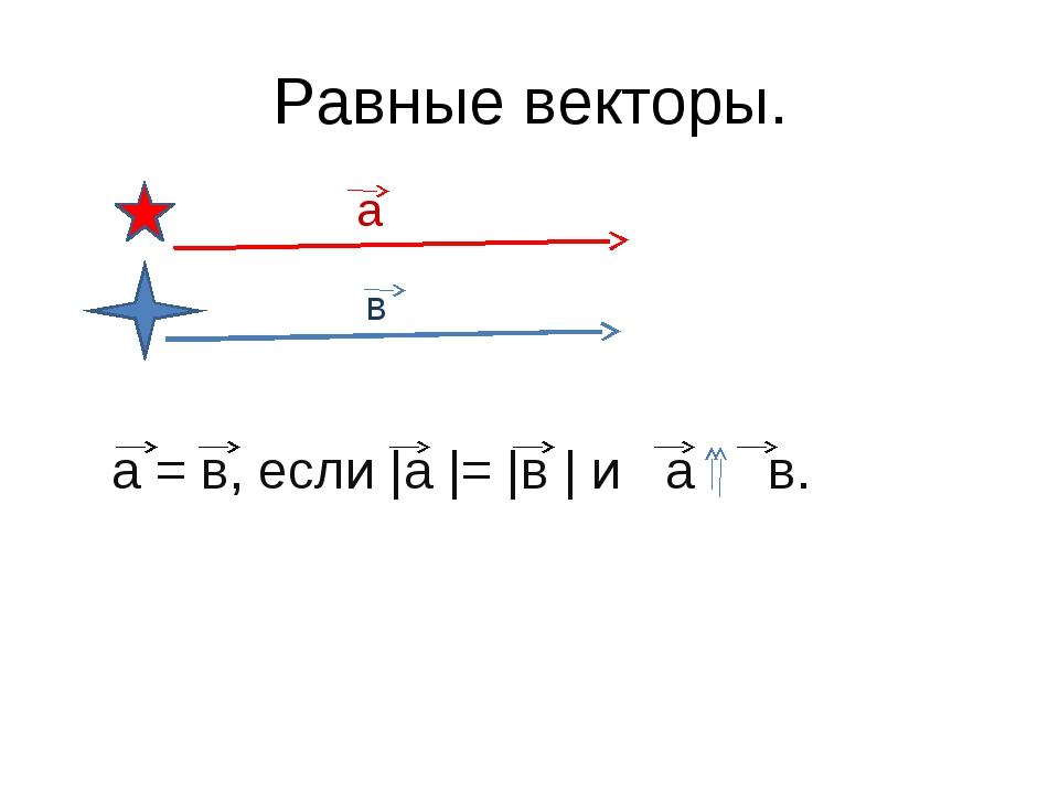 Равные векторы. а в а = в, если |а |= |в | и а в.