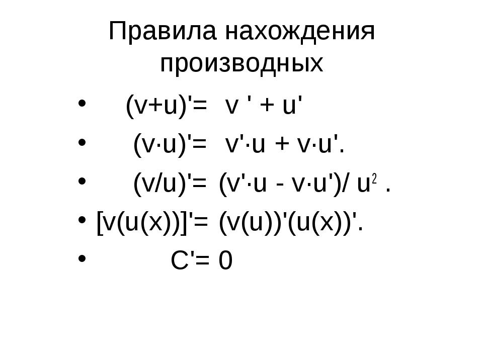 Правила нахождения производных (v+u)'= (v·u)'= (v/u)'= [v(u(х))]'= С'= v ' +...