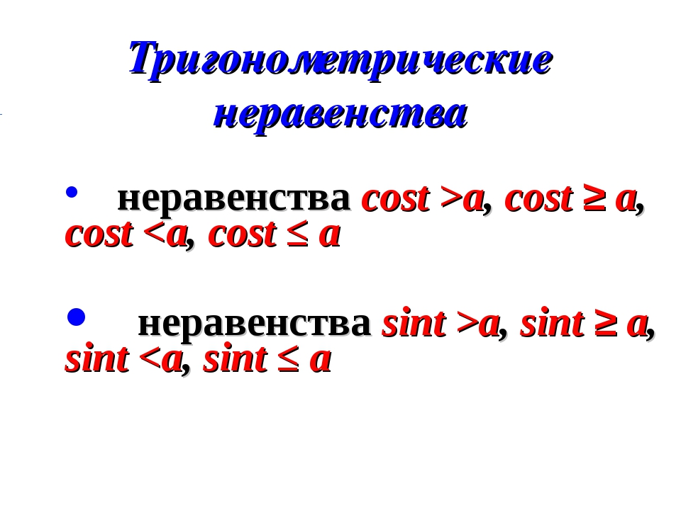 Тригонометрические неравенства неравенства cost >a, cost ≥ a, cost a, sint ≥...