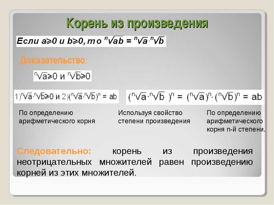 Корень из произведения Доказательство: Используя свойство степени произведени...