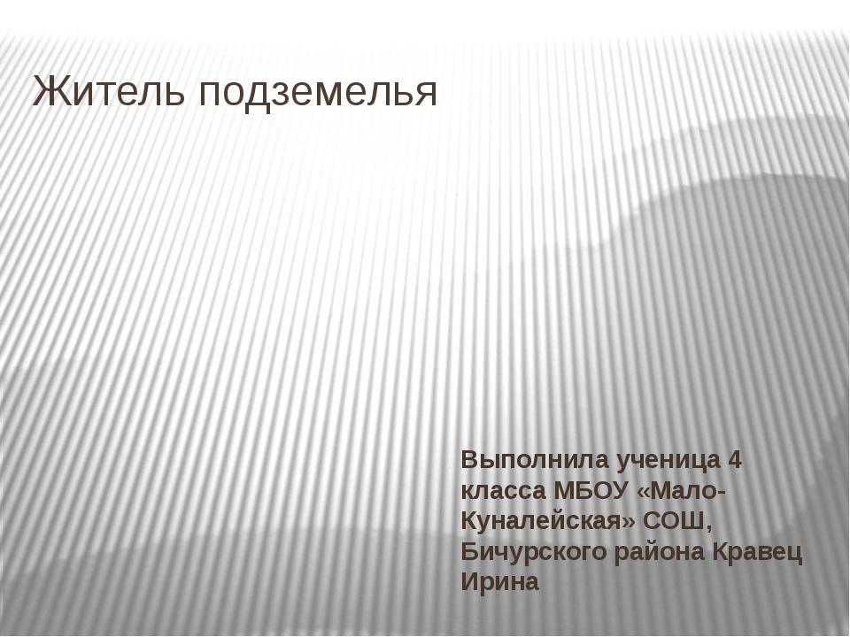 Житель подземелья Выполнила ученица 4 класса МБОУ «Мало-Куналейская» СОШ, Бич...