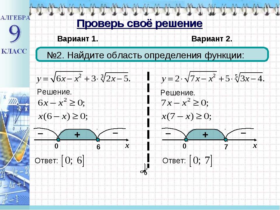 Проверь своё решение Вариант 1. Вариант 2. №2. Найдите область определения фу...