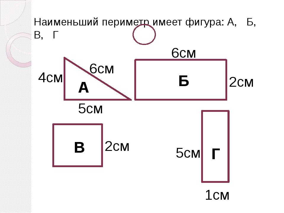 Наименьший периметр имеет фигура: А, Б, В, Г А Б В Г 6см 2см 1см 5см 2см 4см...