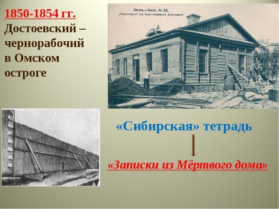 1850-1854 гг. Достоевский – чернорабочий в Омском остроге «Сибирская» тетрадь...