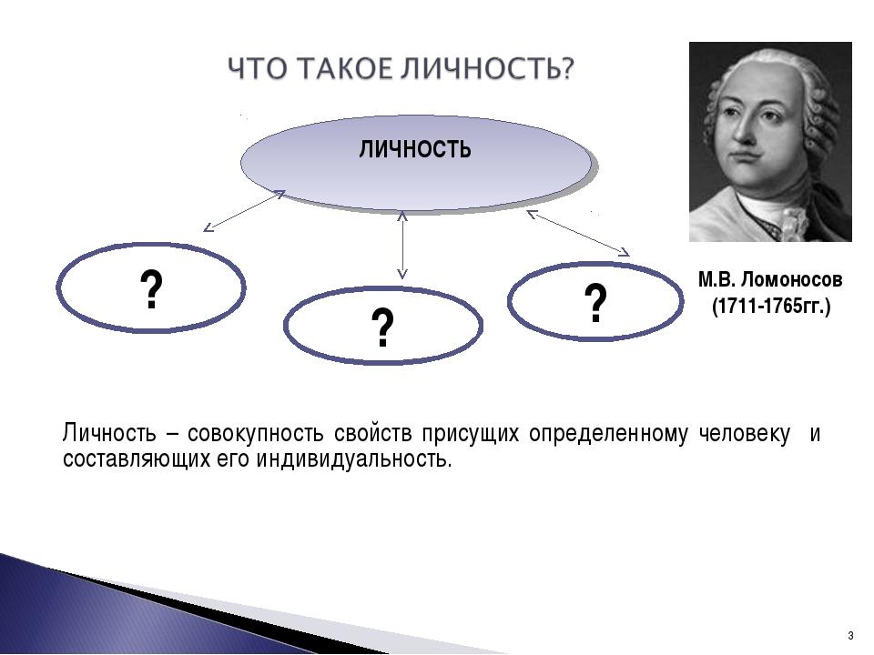 Личность – совокупность свойств присущих определенному человеку и составляющ...