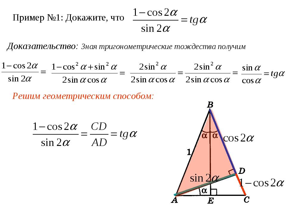 Пример №1: Докажите, что Доказательство: Зная тригонометрические тождества по...