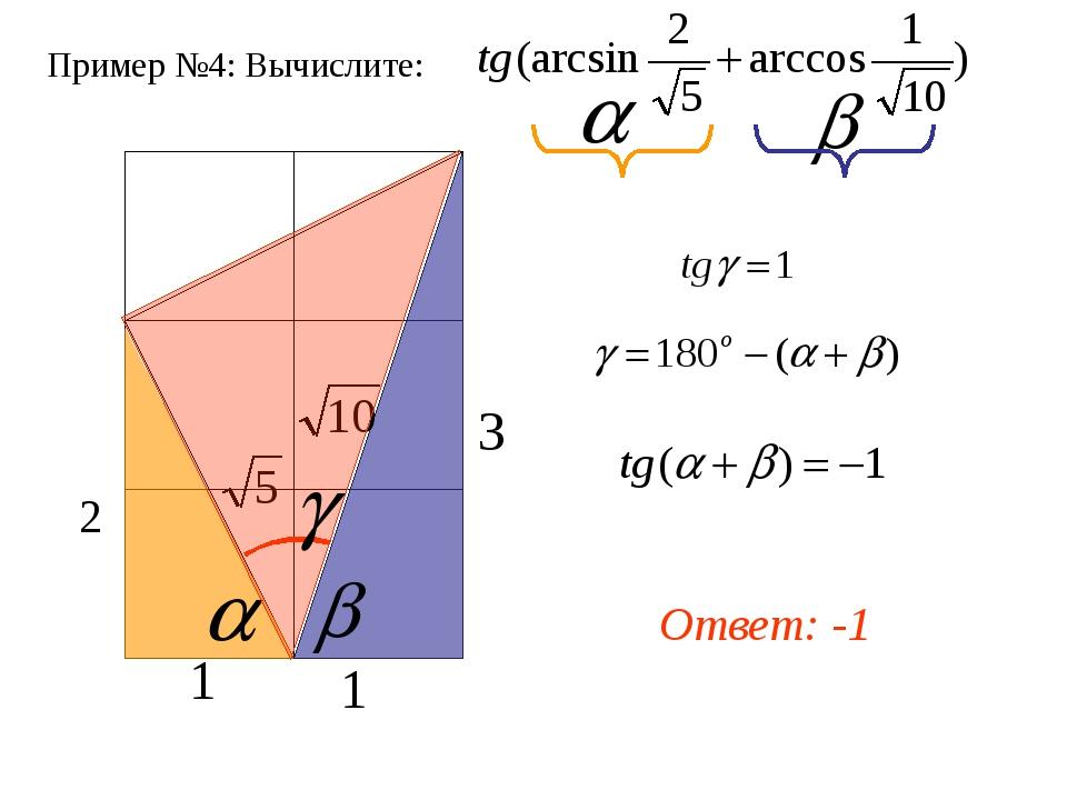 Пример №4: Вычислите: Ответ: -1