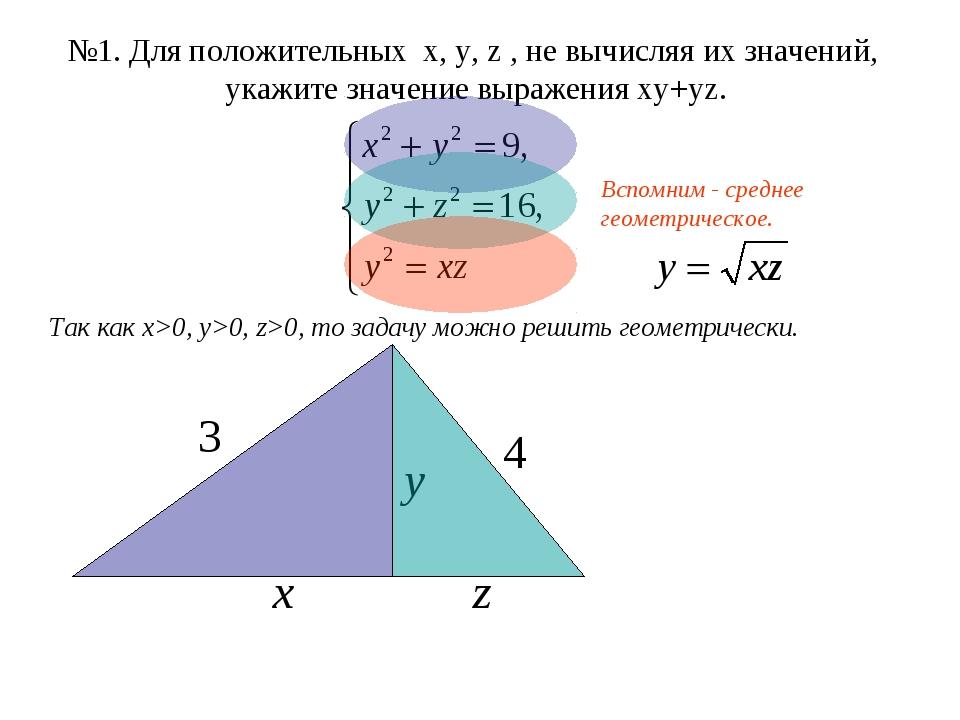 №1. Для положительных x, y, z , не вычисляя их значений, укажите значение выр...