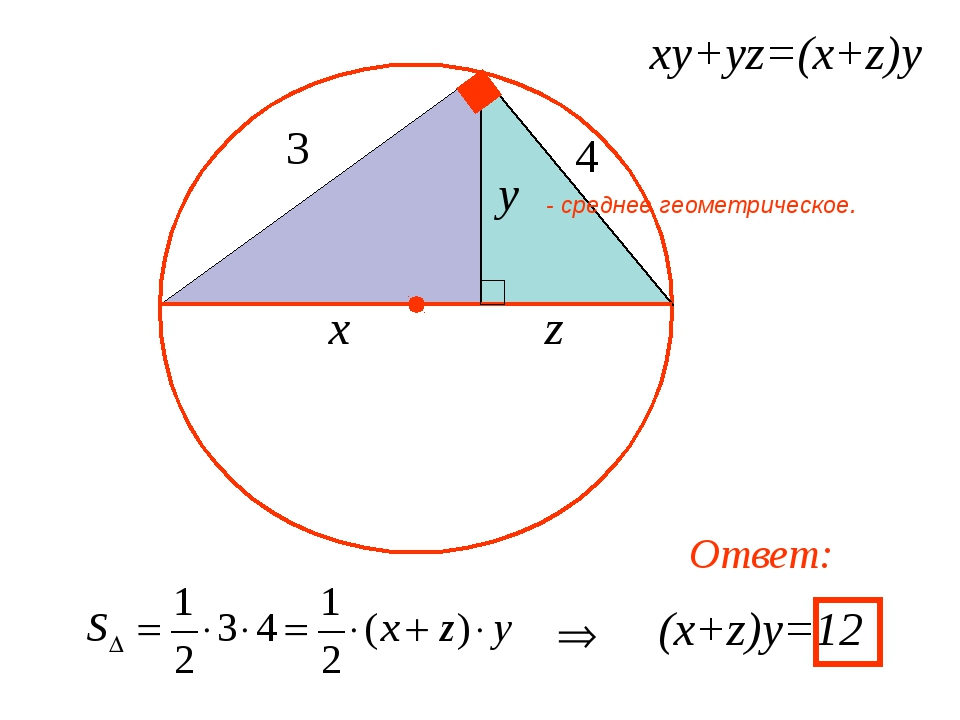 ху+уz=(x+z)y (x+z)y=12 Ответ: - среднее геометрическое.