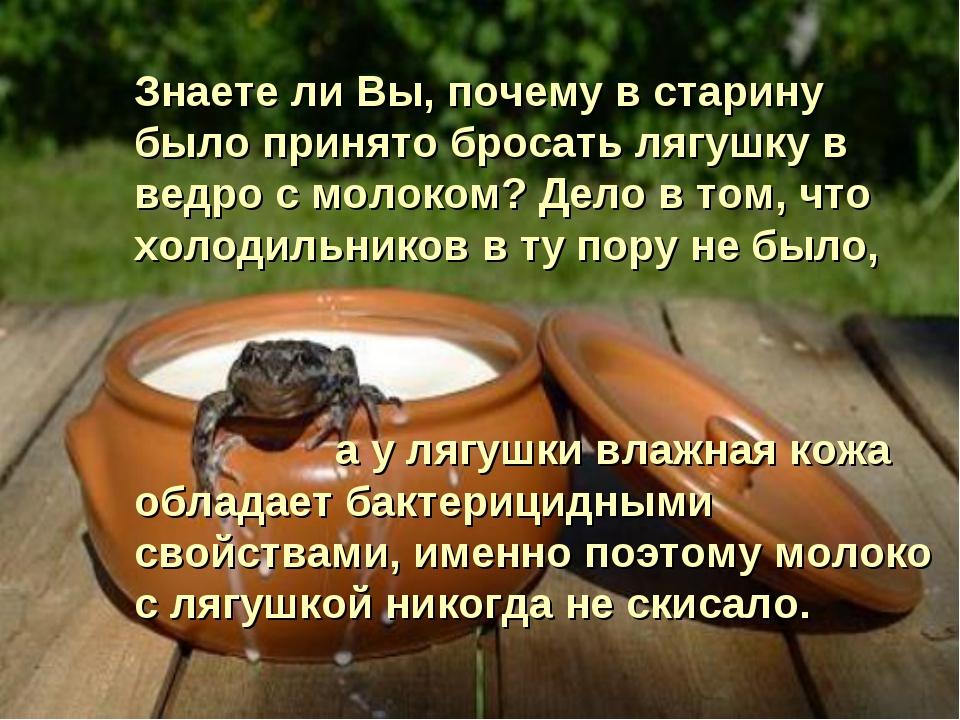 Знаете ли Вы, почему в старину было принято бросать лягушку в ведро с молоком...