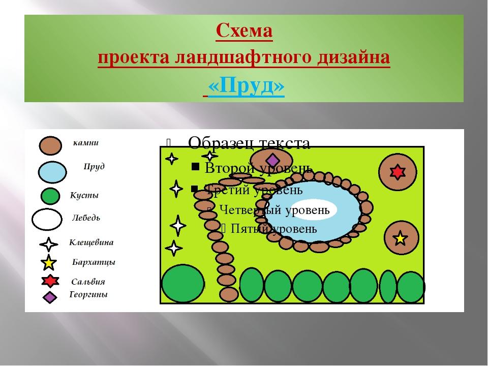 Схема проекта ландшафтного дизайна «Пруд»