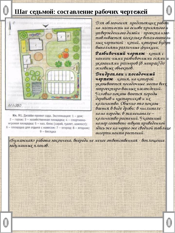 Шаг седьмой: составление рабочих чертежей Для облегчения предстоящих работ на...