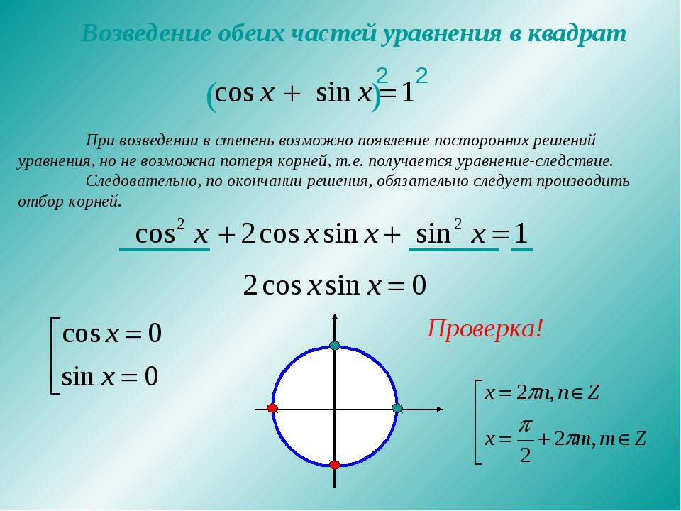 Возведение обеих частей уравнения в квадрат При возведении в степень возможн...