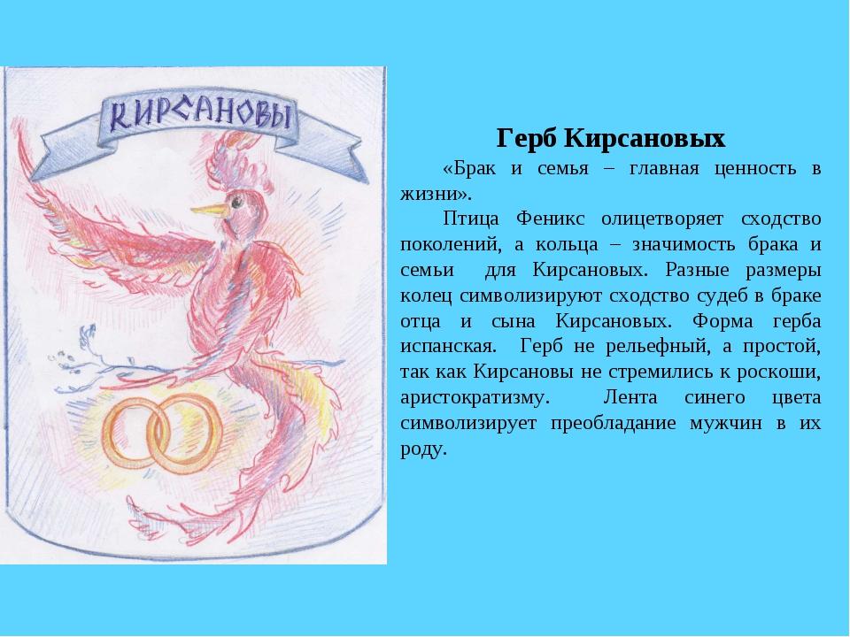 Герб Кирсановых «Брак и семья – главная ценность в жизни». Птица Феникс олиц...