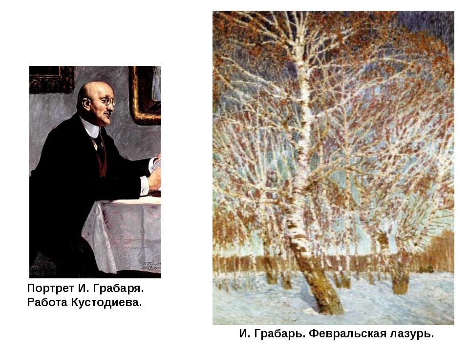Портрет И. Грабаря. Работа Кустодиева. И. Грабарь. Февральская лазурь.