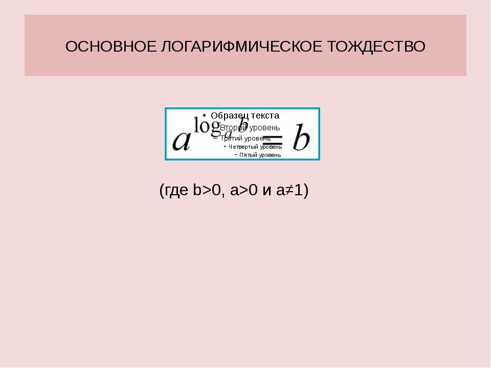 ОСНОВНОЕ ЛОГАРИФМИЧЕСКОЕ ТОЖДЕСТВО (где b>0, а>0 и а≠1)