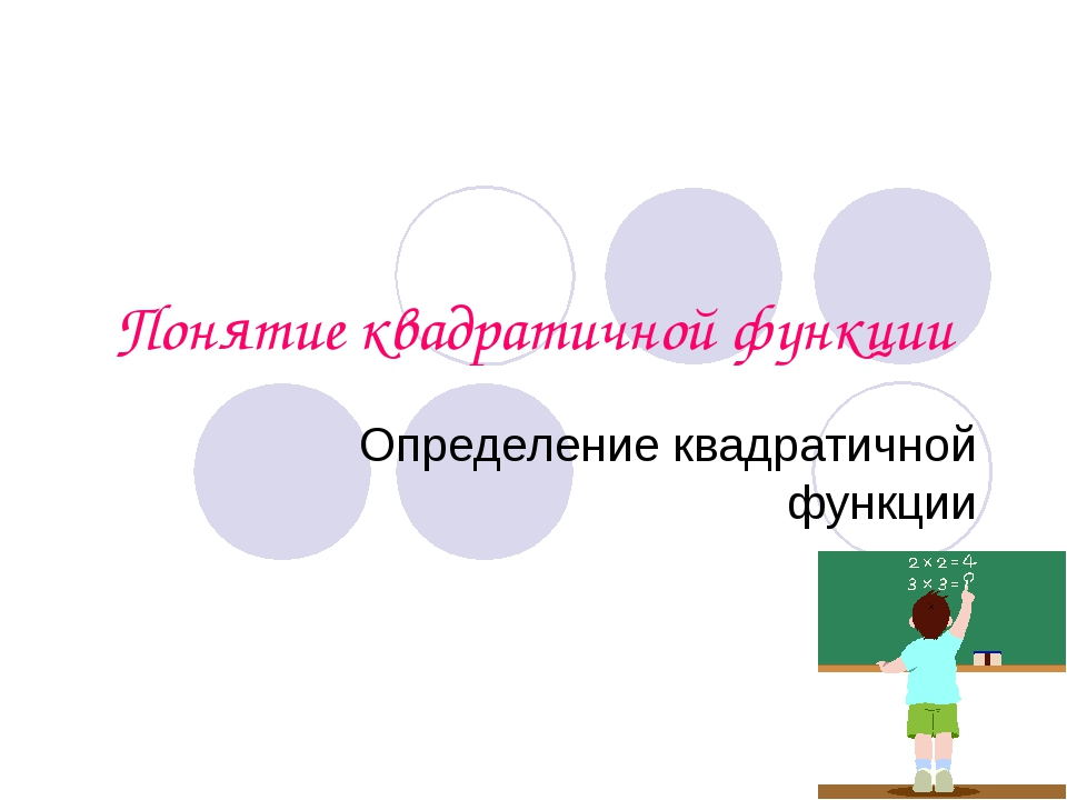 Понятие квадратичной функции Определение квадратичной функции
