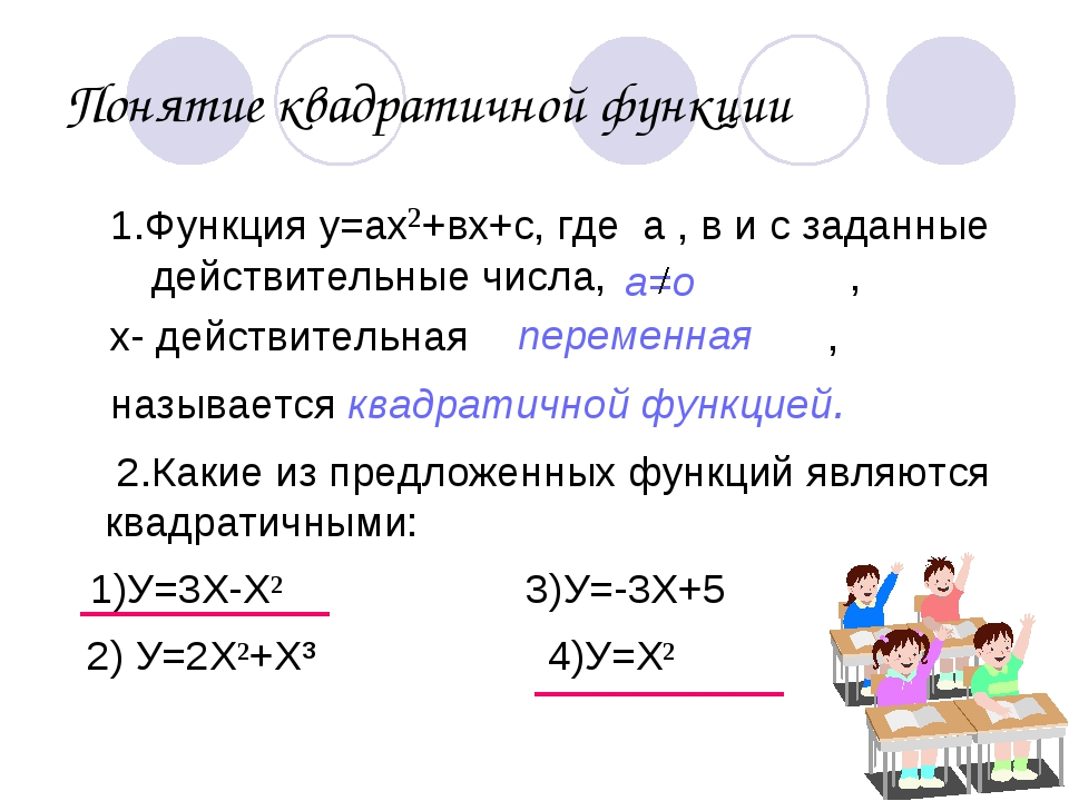 Понятие квадратичной функции 1.Функция у=ах²+вх+с, где а , в и с заданные дей...