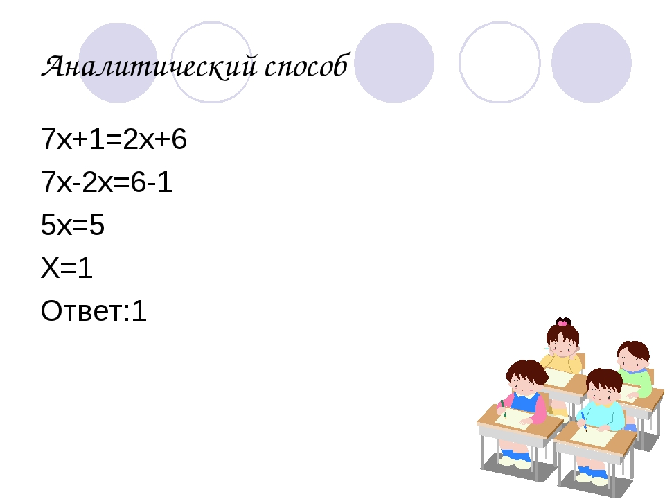 Аналитический способ 7х+1=2х+6 7х-2х=6-1 5х=5 Х=1 Ответ:1