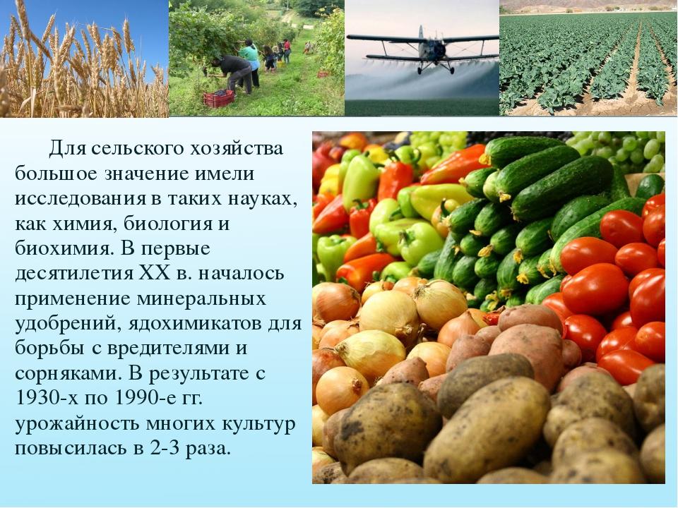 Для сельского хозяйства большое значение имели исследования в таких науках,...