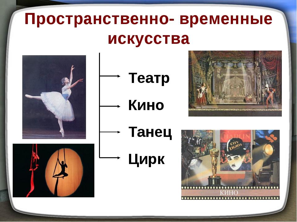 Пространственно- временные искусства Театр Кино Танец Цирк