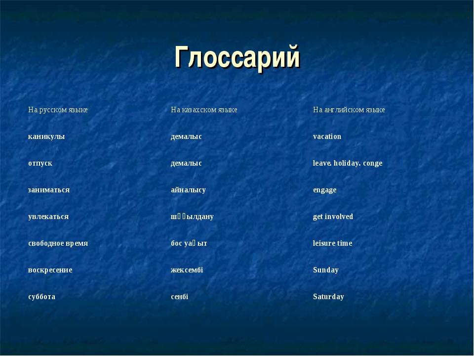 Глоссарий На русском языкеНа казахском языкеНа английском языке каникулыде...