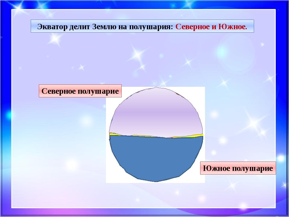 Экватор делит Землю на полушария: Северное и Южное. Северное полушарие Южное...