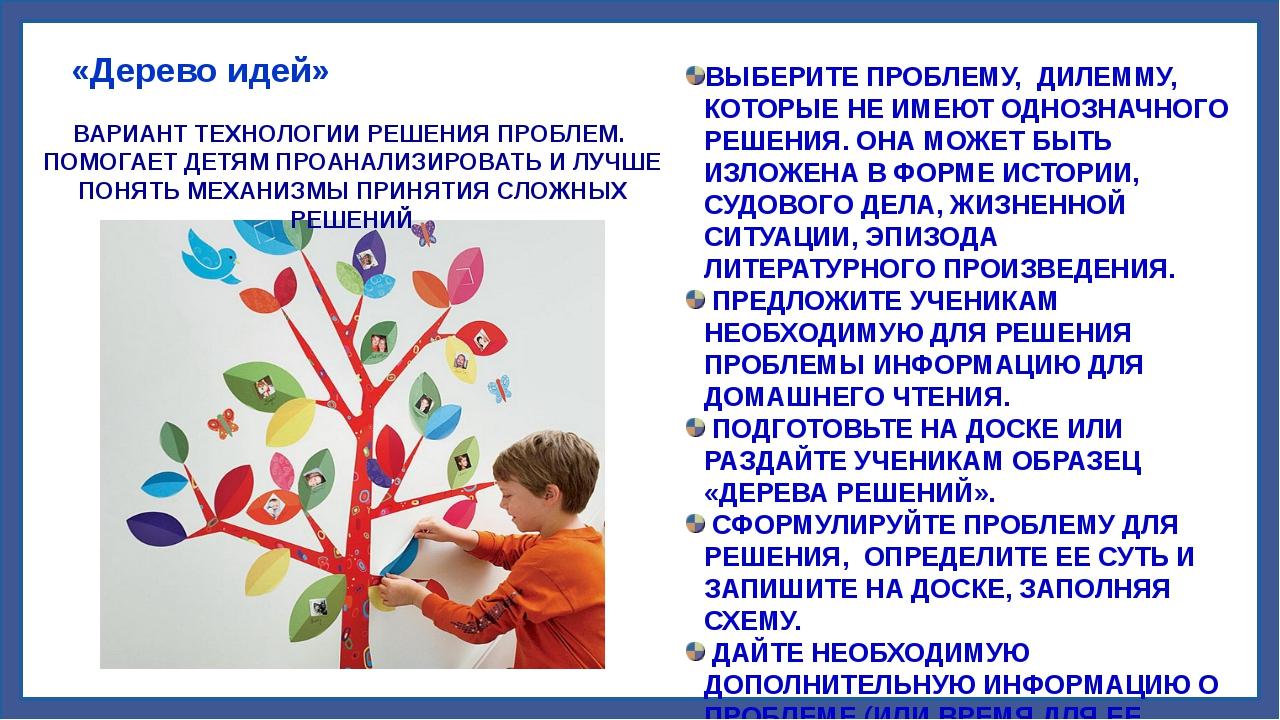 «Дерево идей» ВАРИАНТ ТЕХНОЛОГИИ РЕШЕНИЯ ПРОБЛЕМ. ПОМОГАЕТ ДЕТЯМ ПРОАНАЛИЗИР...