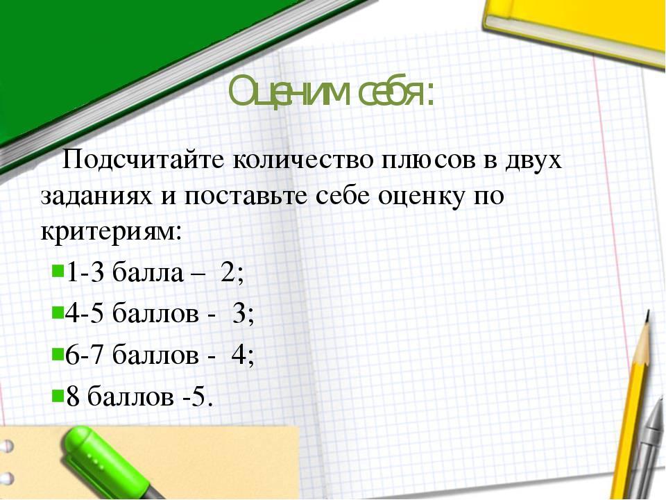 Оценим себя: Подсчитайте количество плюсов в двух заданиях и поставьте себе о...