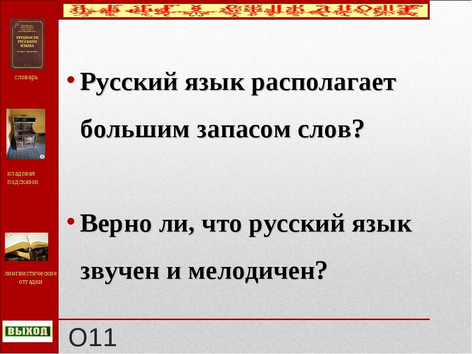 О11 Русский язык располагает большим запасом слов? Верно ли, что русский язык...