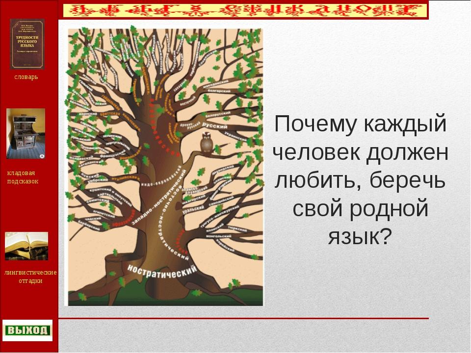Почему каждый человек должен любить, беречь свой родной язык? словарь кладова...