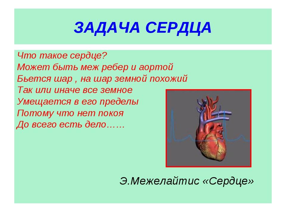 ЗАДАЧА СЕРДЦА Что такое сердце? Может быть меж ребер и аортой Бьется шар , на...