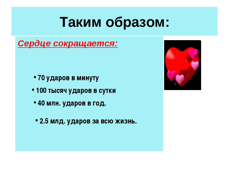Таким образом: Сердце сокращается: 70 ударов в минуту 100 тысяч ударов в сутк...