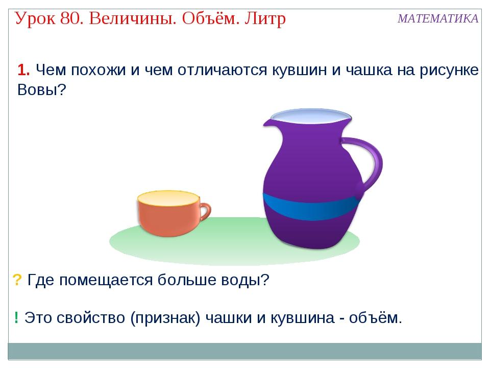 1. Чем похожи и чем отличаются кувшин и чашка на рисунке Вовы? ? Где помещает...