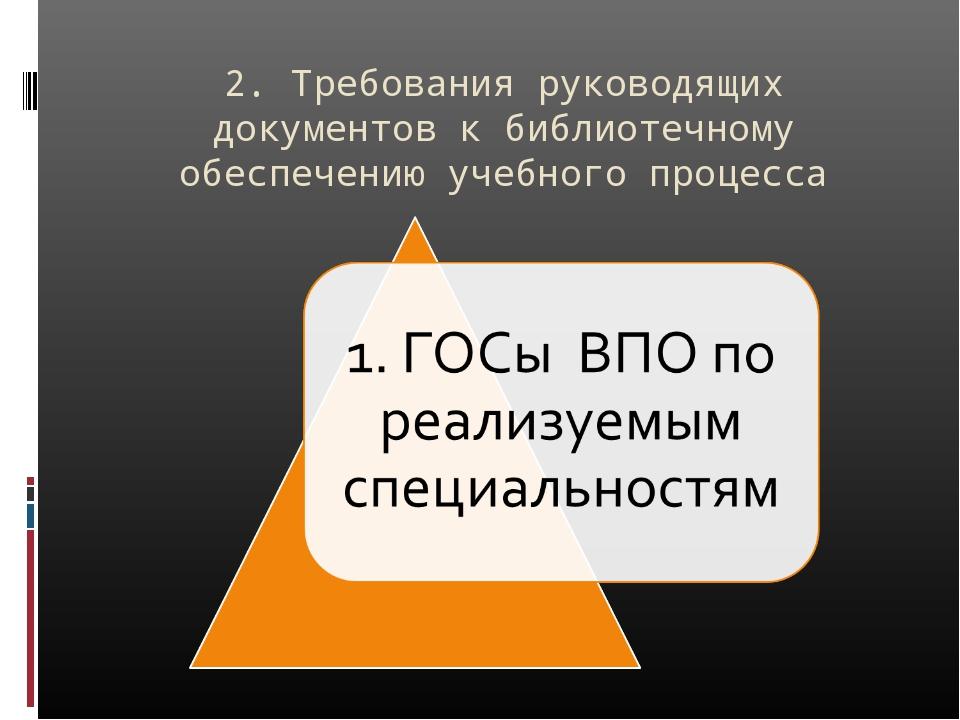 2. Требования руководящих документов к библиотечному обеспечению учебного про...