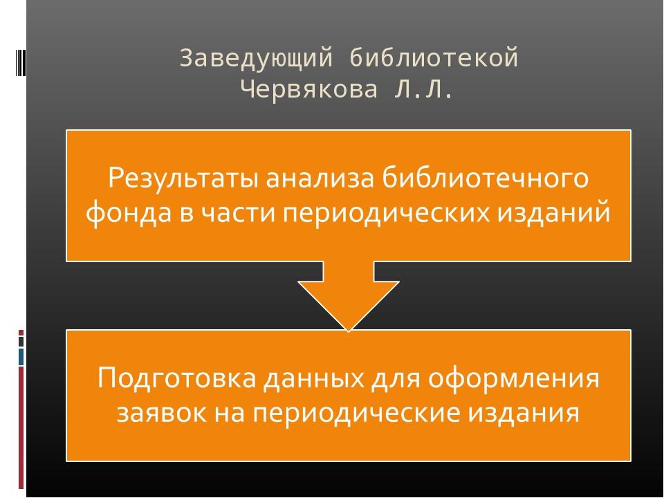 Заведующий библиотекой Червякова Л.Л.