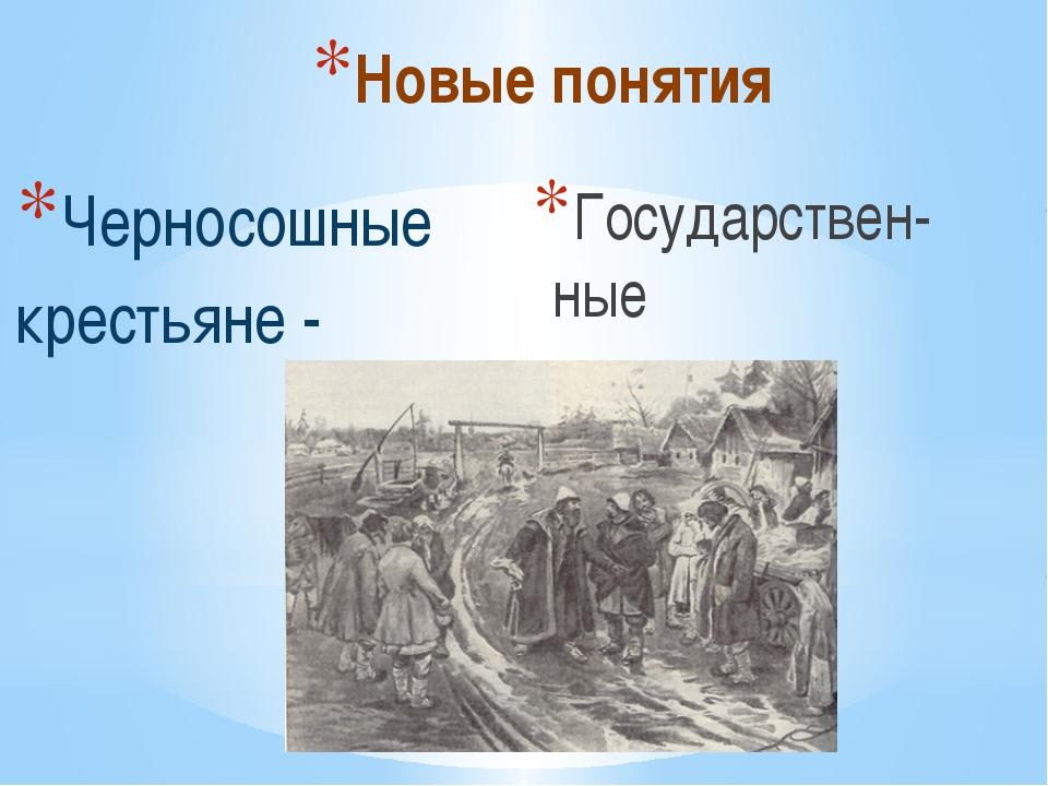 Новые понятия Черносошные крестьяне - Государствен-ные