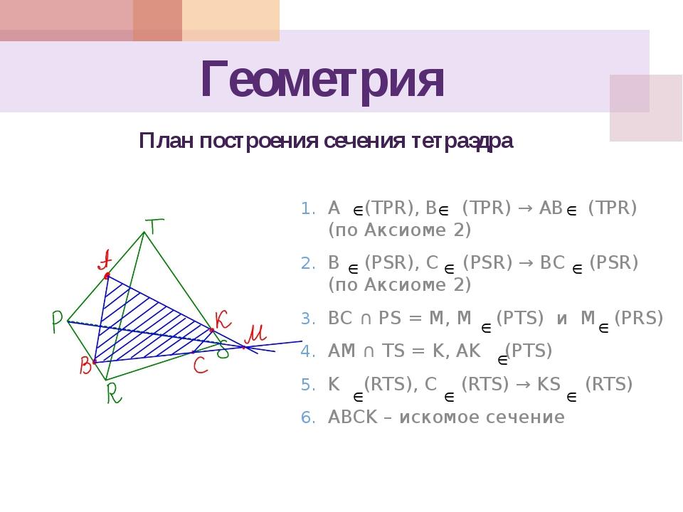 Геометрия A (TPR), B (TPR) → AB (TPR) (по Аксиоме 2) B (PSR), C (PSR) → BC (P...
