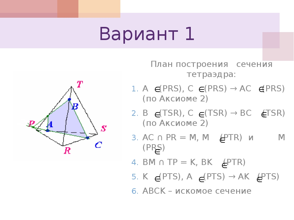 Вариант 1 План построения сечения тетраэдра: A (PRS), C (PRS) → AC (PRS) (по...