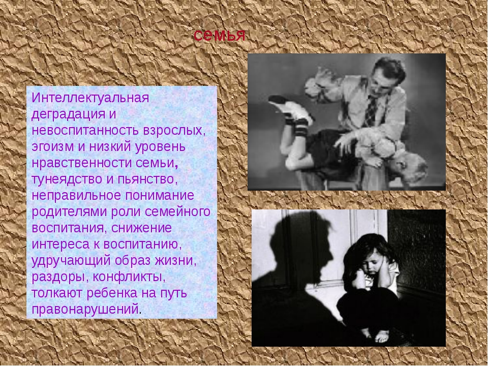 семья Интеллектуальная деградация и невоспитанность взрослых, эгоизм и низкий...