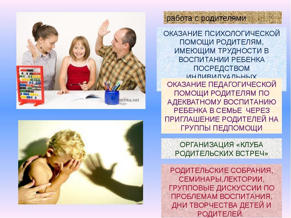 работа с родителями ОКАЗАНИЕ ПСИХОЛОГИЧЕСКОЙ ПОМОЩИ РОДИТЕЛЯМ, ИМЕЮЩИМ ТРУДНО...