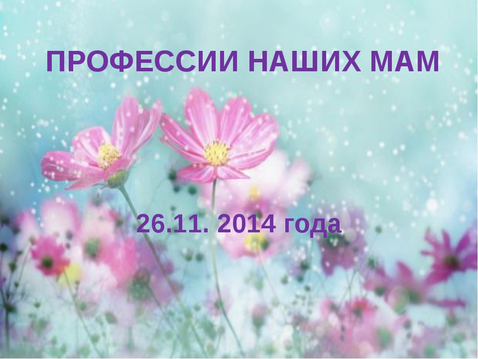 ПРОФЕССИИ НАШИХ МАМ 26.11. 2014 года