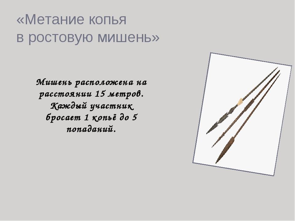 «Метание копья в ростовую мишень» Мишень расположена на расстоянии 15 метров....
