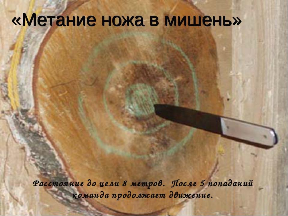 «Метание ножа в мишень» Расстояние до цели 8 метров. После 5 попаданий команд...